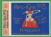 Collectible English cigarette packet Mal-Kah No 3 #210